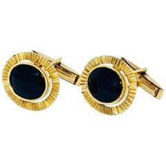 Vintage 18 Karat Yellow Gold and Onyx Oval Cufflinks