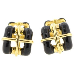 Vintage 18 Karat Yellow Gold Black Enamel Tiffany & Co. Cufflinks