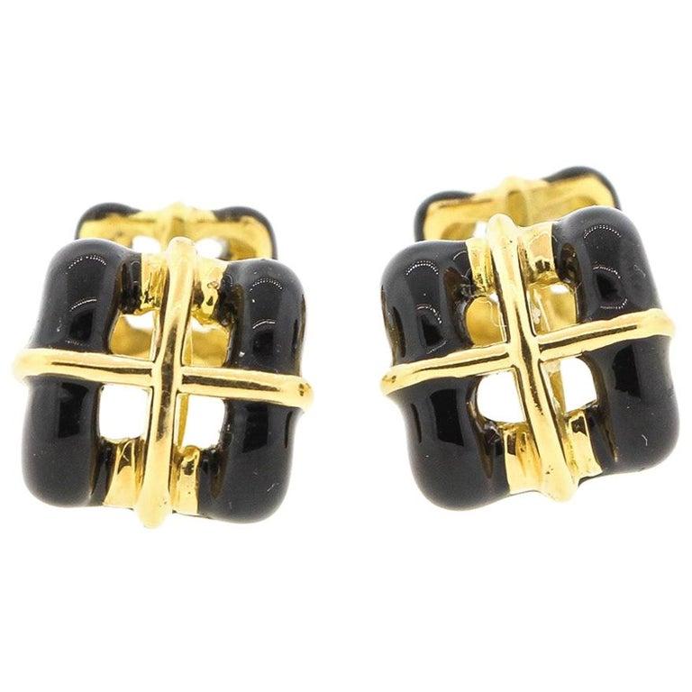 Vintage 18 Karat Yellow Gold Black Enamel Tiffany & Co. Cufflinks For Sale