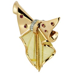 Vintage 18 Karat Yellow Gold Brooch with Diamonds and Rubies, 1970s