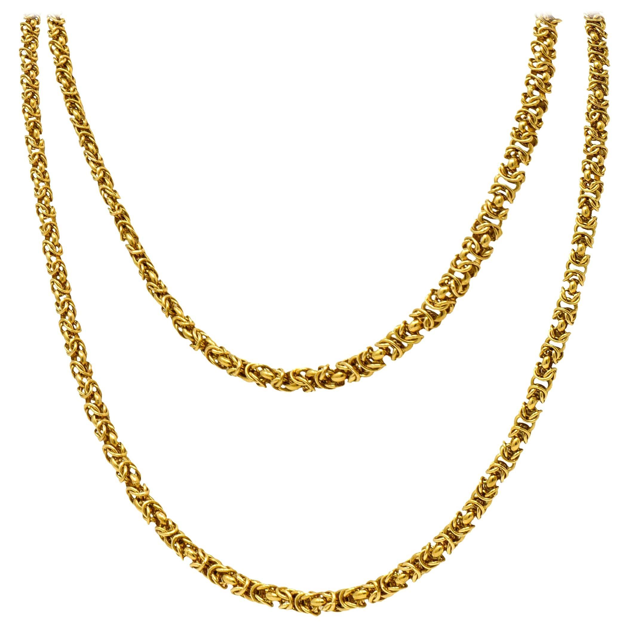 Vintage 18 Karat Yellow Gold Byzantine Long Chain Necklace