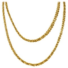 Vintage 18 Karat Yellow Gold Byzantine Long Chain Necklace