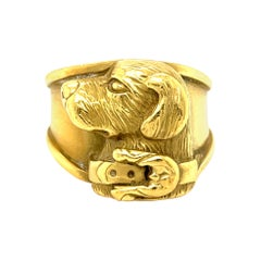 Vintage 18 Karat Yellow Gold Canine Ring by Keiselstein-Cord