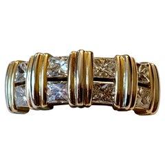 Vintage 18 Karat Yellow Gold Cartier Ring with Princess Cut Diamonds