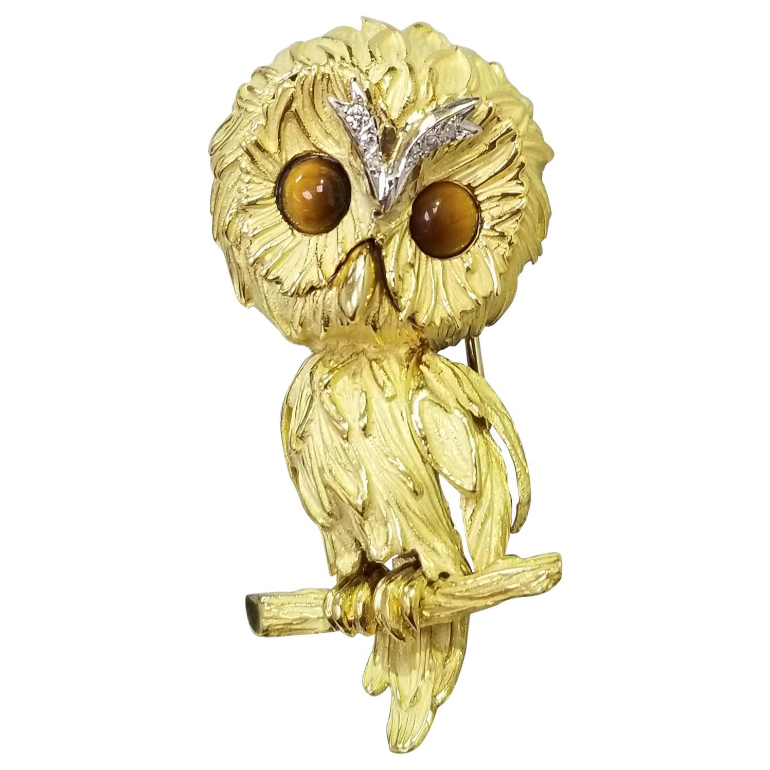 "Vintage 18 Karat Yellow Gold Carved ""OWL"" Brooch"