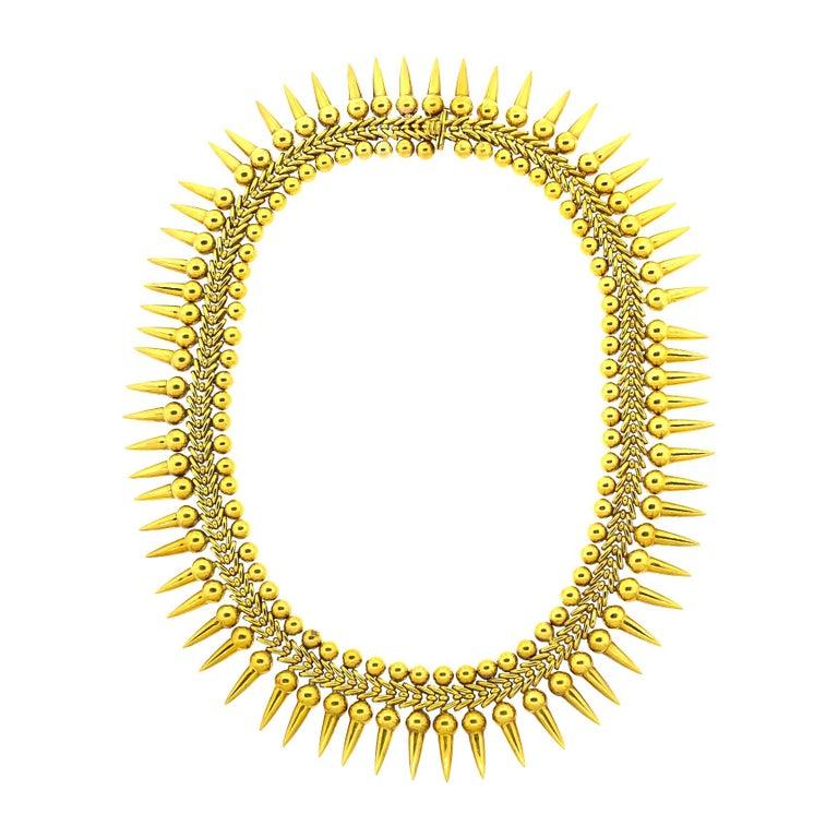 Vintage 18 Karat Yellow Gold Dart Collar Necklace For Sale