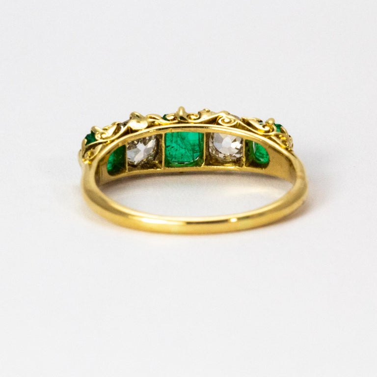Old European Cut Vintage 18 Karat Yellow Gold Diamond and Emerald Five-Stone Ring For Sale
