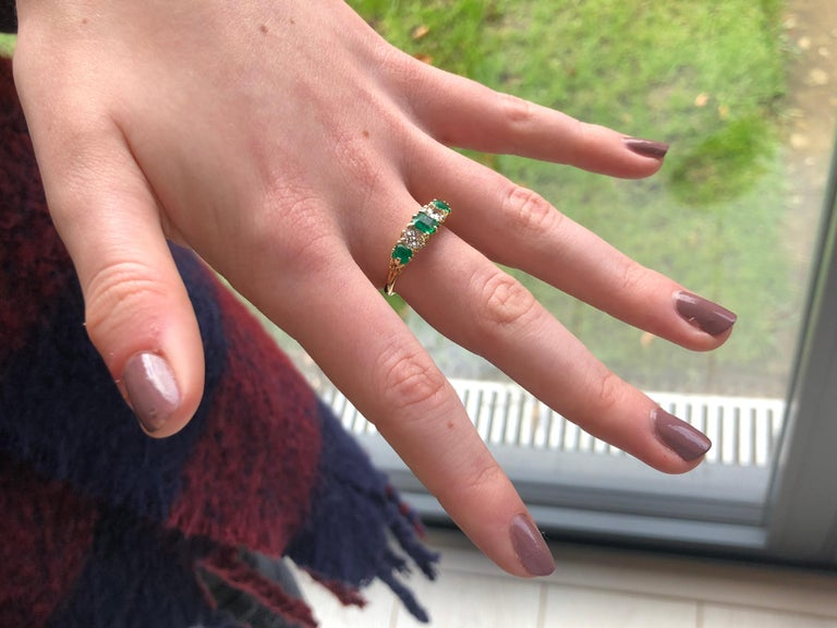 Vintage 18 Karat Yellow Gold Diamond and Emerald Five-Stone Ring For Sale 1