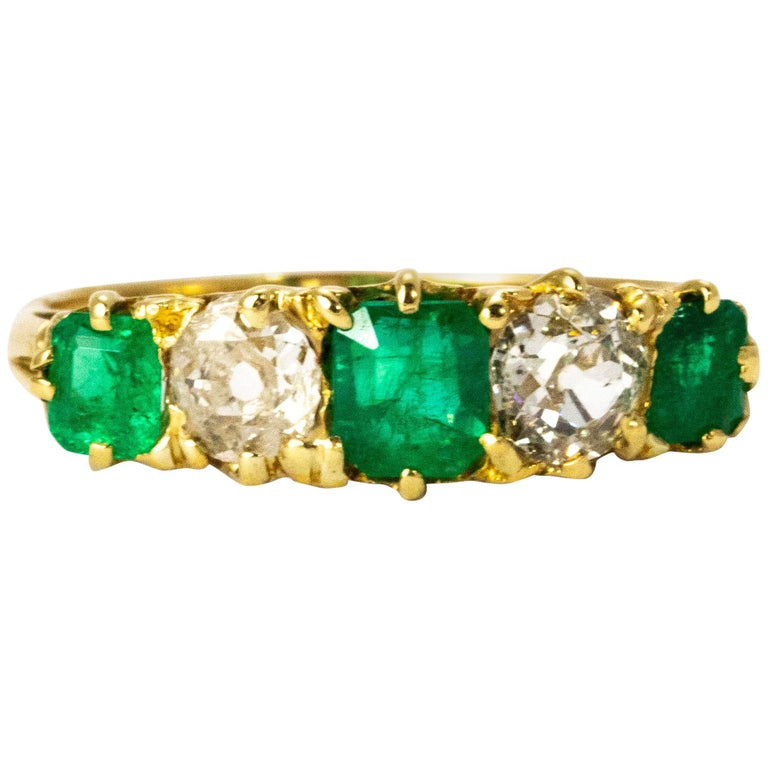 Vintage 18 Karat Yellow Gold Diamond and Emerald Five-Stone Ring For Sale
