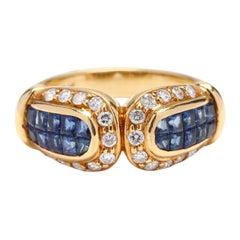 Vintage 18 Karat Yellow Gold Diamond and Sapphire Ring