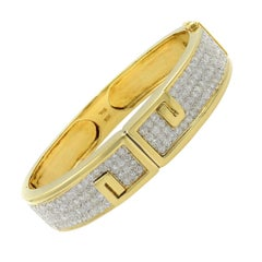 Vintage 18 Karat Yellow Gold Diamond Bangle Bracelet 6.00 Carat