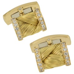 Vintage 18 Karat Yellow Gold Diamond Cufflink and Shirt Stud Set