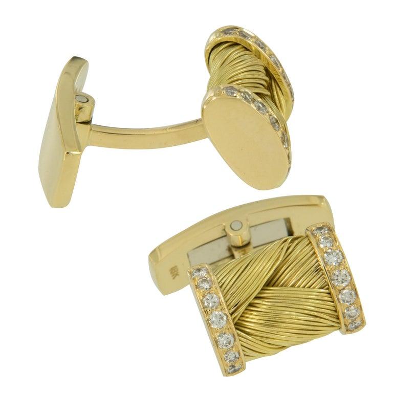Round Cut Vintage 18 Karat Yellow Gold Diamond Cufflink and Shirt Stud Set For Sale