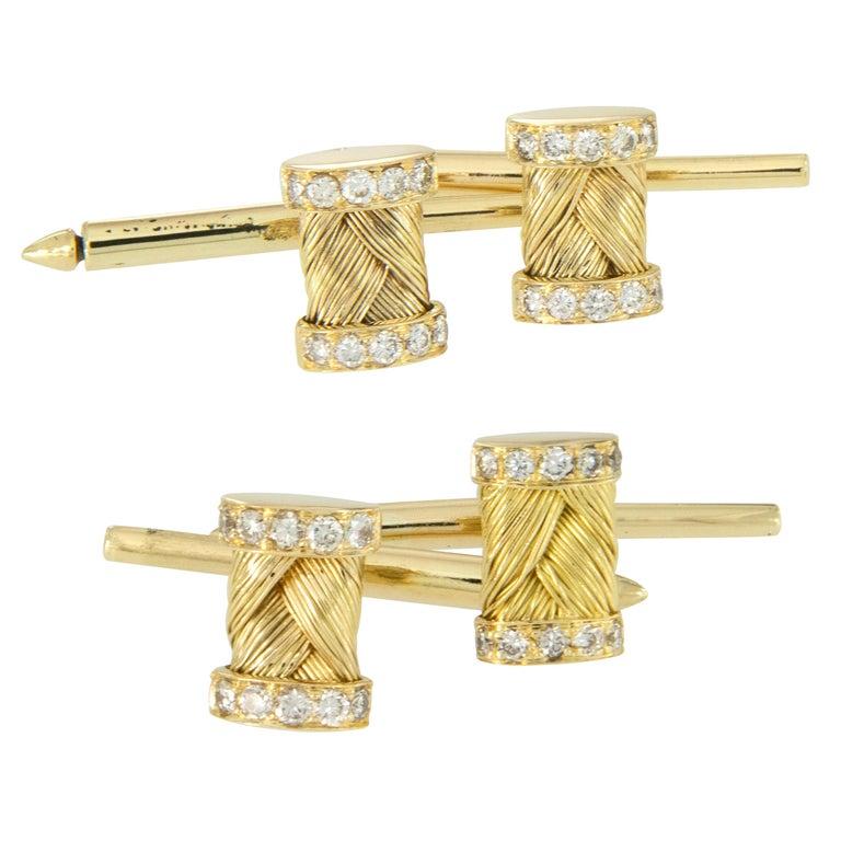 Women's or Men's Vintage 18 Karat Yellow Gold Diamond Cufflink and Shirt Stud Set For Sale