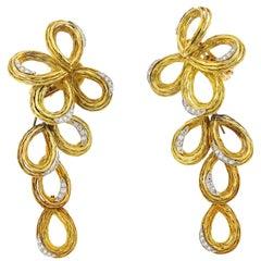 Vintage 18 Karat Yellow Gold Diamond Day Night Ribbon Earrings