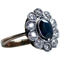 Vintage 18 Karat Yellow Gold Diamond Halo and Sapphire Ring, 3.00 Carat