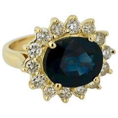 Vintage 18 Karat Yellow Gold Diamond Sapphire Cluster Ring