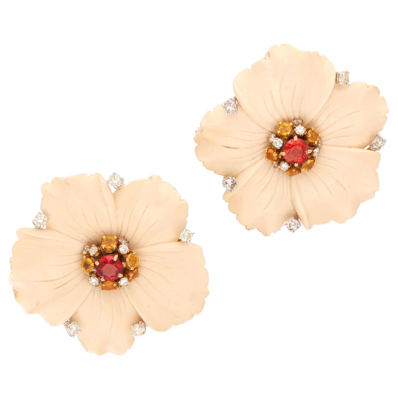 Vintage 18 Karat Yellow Gold Diamonds Multicolored Sapphires Earrings