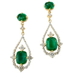 Vintage 18 Karat Yellow Gold Emerald and Diamond Drop Earrings