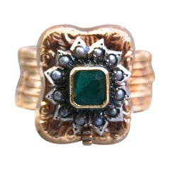 Vintage 18 Karat Yellow Gold Emerald and Pearl Ring/ Bracelet