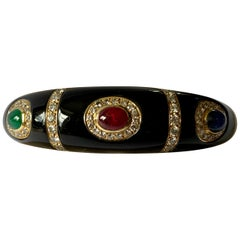 Vintage 18 Karat Yellow Gold Enamel Diamond Ruby Sapphire Emerald Bangle