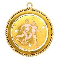 Vintage 18 Karat Yellow Gold Enamel Gemini Zodiac Charm