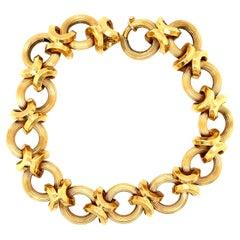 Vintage 18 Karat Yellow Gold Fancy Circle Link Chain Bracelet