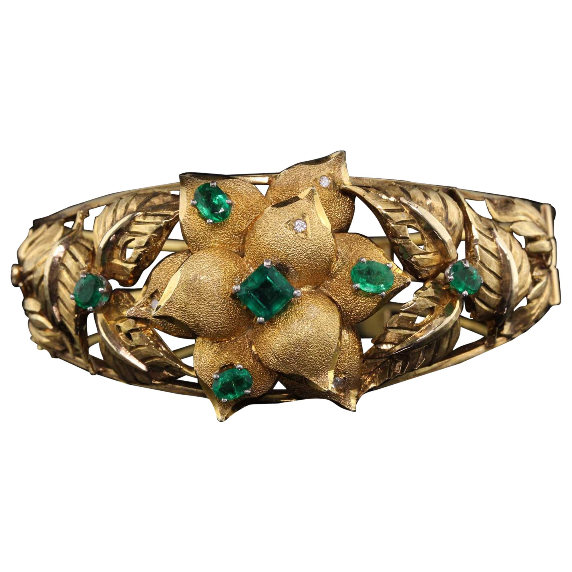 Vintage 18 Karat Yellow Gold Floral Columbian Emerald and Diamond Cuff Bracelet