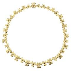 Vintage 18 Karat Yellow Gold Flower Necklace