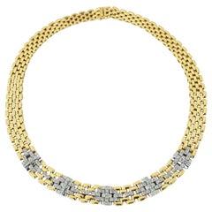 Vintage 18 Karat Yellow Gold Graduated Diamond Gate Link Necklace Collier