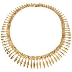Vintage 18 Karat Yellow Gold Graduating Cleopatra Style Necklace