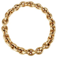 Vintage 18 Karat Yellow Gold Heavy Chain Link Necklace 122 Grams
