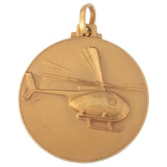 Vintage 18 Karat Yellow Gold Helicopter Charm