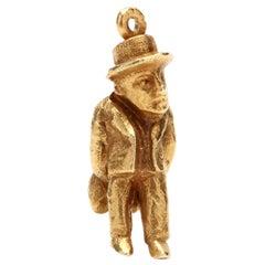 Vintage 18 Karat Yellow Gold Interesting Man Charm / Pendant