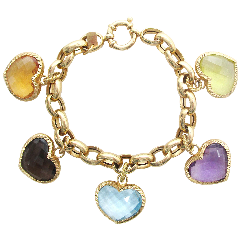 Vintage 18 Karat Yellow Gold Italian Heart Five Charm Bracelet Citrine Amethyst