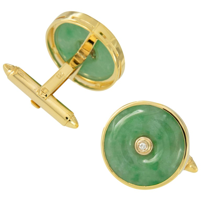Vintage 18 Karat Yellow Gold Jadeite Diamond Cufflinks For Sale