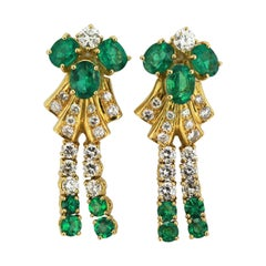 Vintage 18 Karat Yellow Gold Ladies Clip-On Earrings with Emeralds and Diamonds