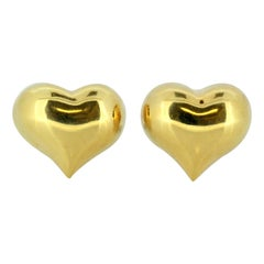 Vintage 18 Karat Yellow Gold Ladies Heart Shaped Earrings