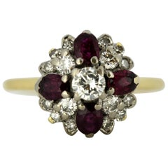 Vintage 18 Karat Yellow Gold Ladies Ring with Diamonds and Natural Rubies