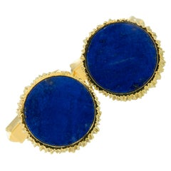 Vintage 18 Karat Yellow Gold Lapis Cufflinks