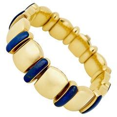 Vintage 18 Karat Yellow Gold Lapis Lazuli Bracelet 58 Grams