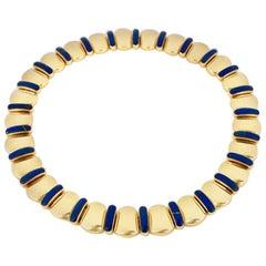Vintage 18 Karat Yellow Gold Lapis Lazuli Collar Collier Necklace 121 Grams