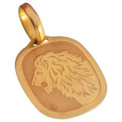 Vintage 18 Karat Yellow Gold Leo Zodiac Astrology Charm