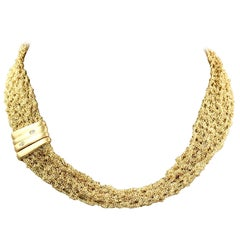 Vintage 18 Karat Yellow Gold Mesh Necklace