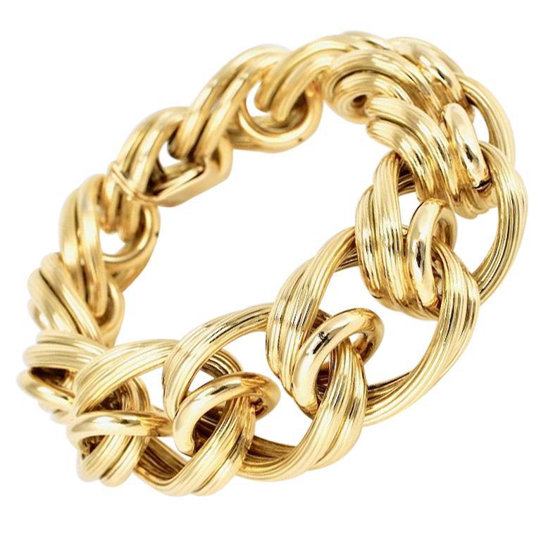 Vintage 18 Karat Yellow Gold Multi Link Bracelet, 1950s
