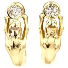 Vintage 18 Karat Yellow Gold Panther Diamond Earrings