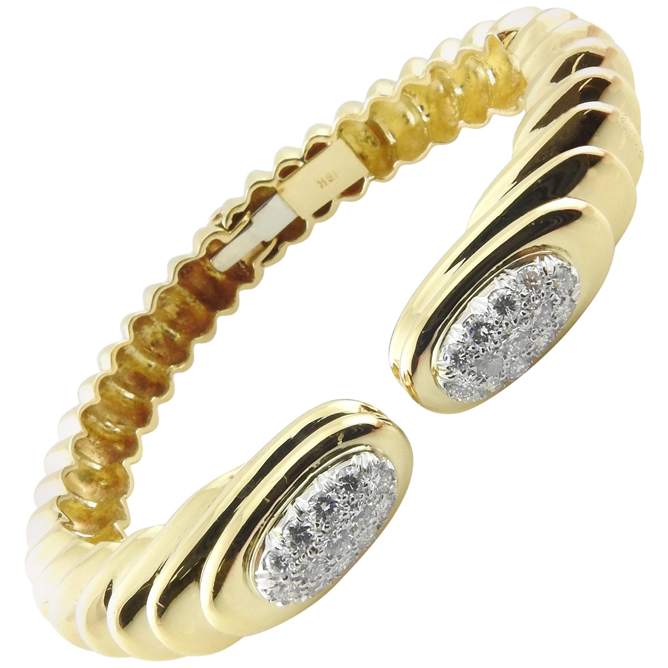18 Karat Yellow Gold Pave Diamond Hinged Cuff Bangle Bracelet