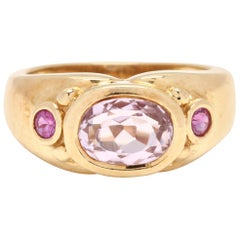 Vintage 18 Karat Yellow Gold, Pink Topaz and Pink Sapphire Ring