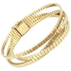Vintage 18 Karat Yellow Gold Retro Italian Four-Strand Bracelet, 1960s