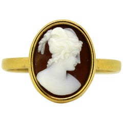 Vintage 18 Karat Yellow Gold Ring with Carnelian Cameo Seal, circa 1950s